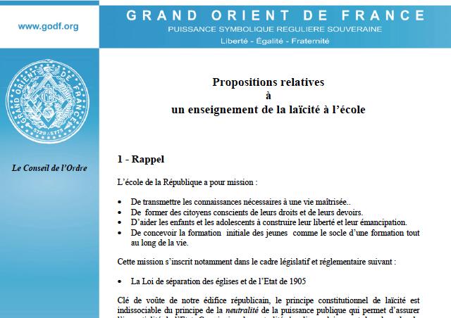 propositions GO Laicite
