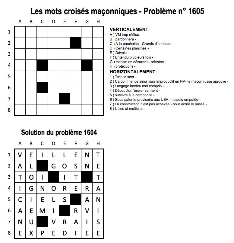 Les mots crois s ma onniques de francis 5 for Photo dinterieur mots croises