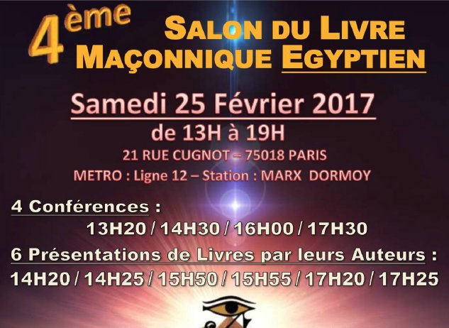 4e salon du livre ma onnique gyptien for Salon egyptien