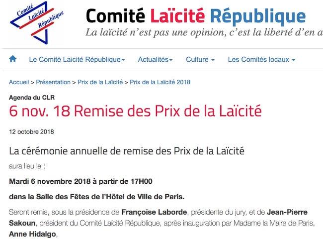 CLR Prix Laicite 2018